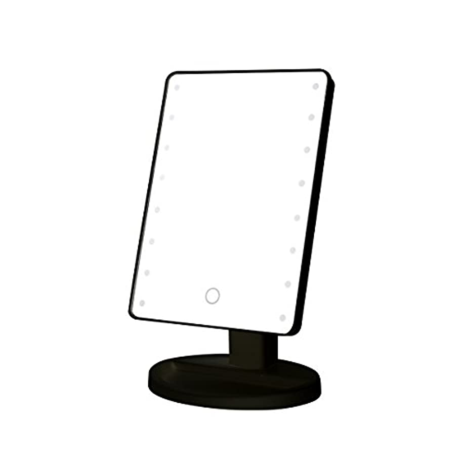 タイプライター読書どうやらB-PING 鏡 卓上 化粧鏡 16LEDライト搭載 女優ミラー 卓上ミラー 180度回転 電池給電 プレゼント メイク 化粧道具 メイクアップミラー (ブラック )