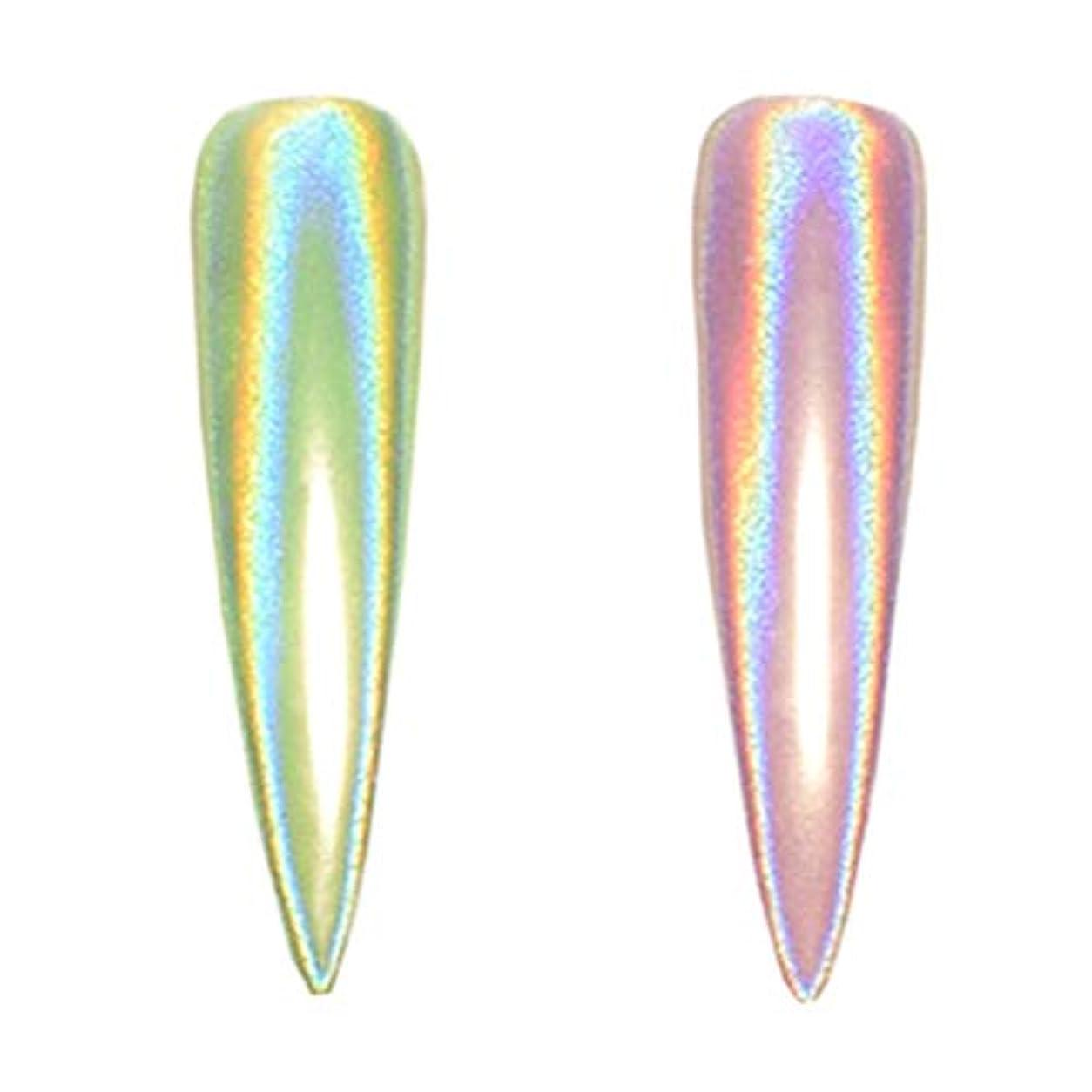 多様な補足興奮するYoshilimen カラフルな1 pcカラフルネオンユニコーンミラーパウダーネイルアートマーメイドフラッシュ(None 1)