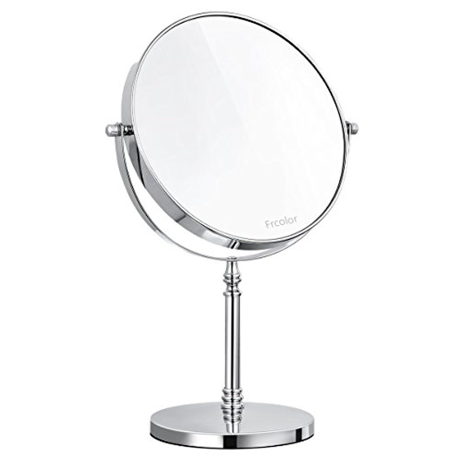 ひねくれた精査ジョグFrcolor 化粧鏡 卓上ミラー 両面鏡 スタンドミラー 10倍拡大鏡 ラウンド 拭く布を付き 8インチ 360度回転 メイクアップミラー