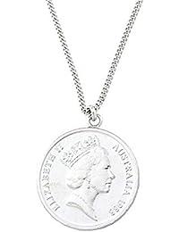 [ジュエリーショップエム] 10セント コイン ネックレス ペンダント エリザベス メンズ レディース オーストラリア リアルコイン 55cm シルバー n3370men-R