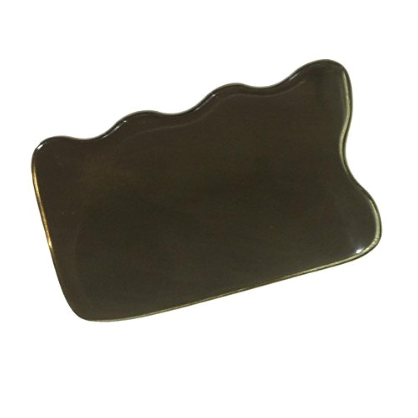 責めトランペット推論かっさ プレート 厚さが選べる 水牛の角(黒水牛角) EHE220 四角波 一般品 厚め(7ミリ程度)