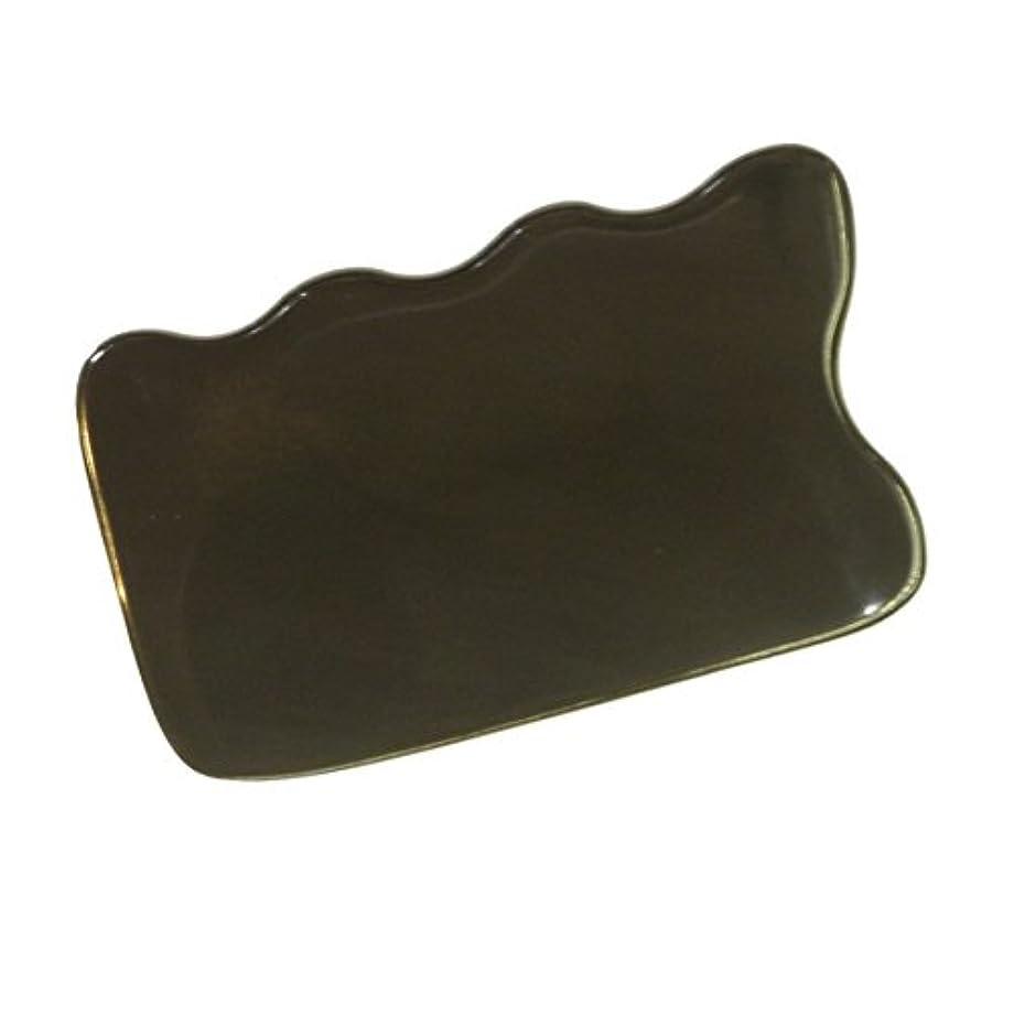 贅沢な杭不定かっさ プレート 厚さが選べる 水牛の角(黒水牛角) EHE220 四角波 一般品 厚め(7ミリ程度)