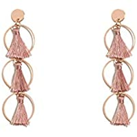 Colette Hayman - Fine Circle Pink Tassel Drop Statement Earrings