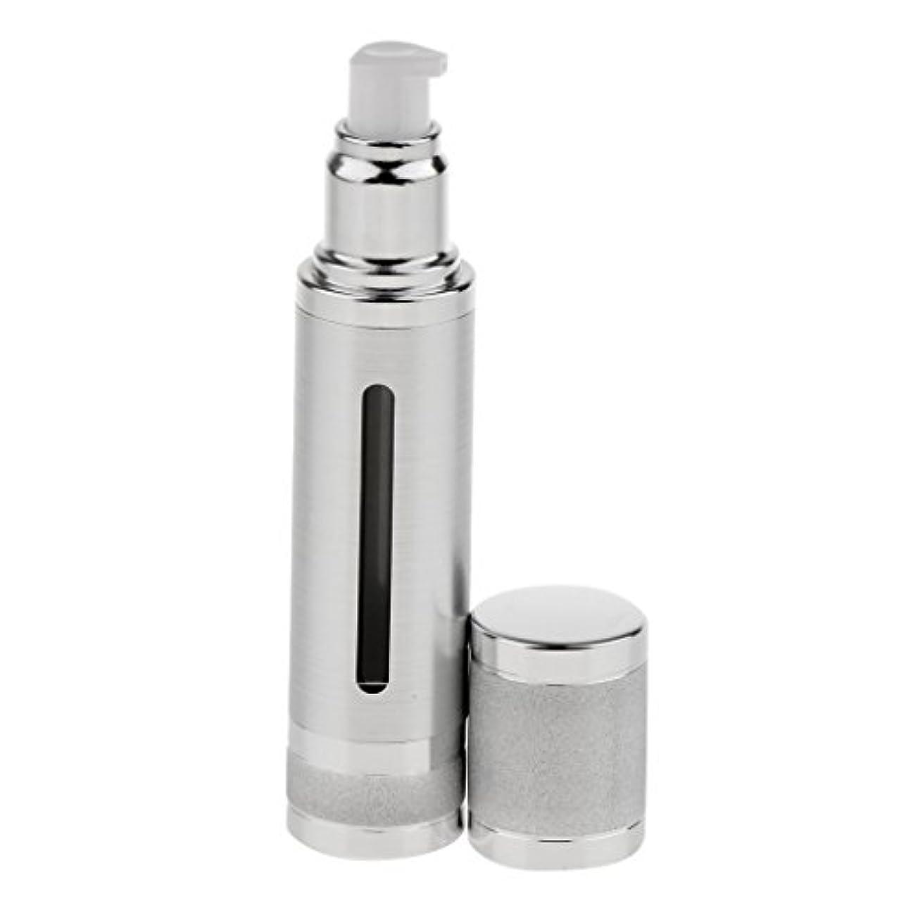 鈍い炭素理容師エアレスボトル 50ml エアレス ポンプボトル ローション クリーム 化粧品 詰め替え可 容器 2色選べる - 銀