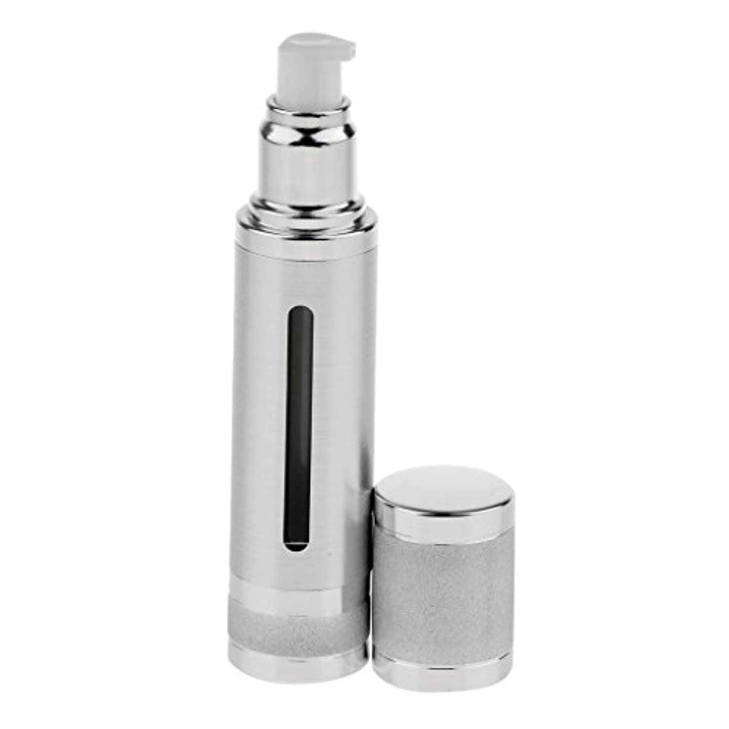 うなり声できない分析するエアレスボトル 50ml エアレス ポンプボトル ローション クリーム 化粧品 詰め替え可 容器 2色選べる - 銀