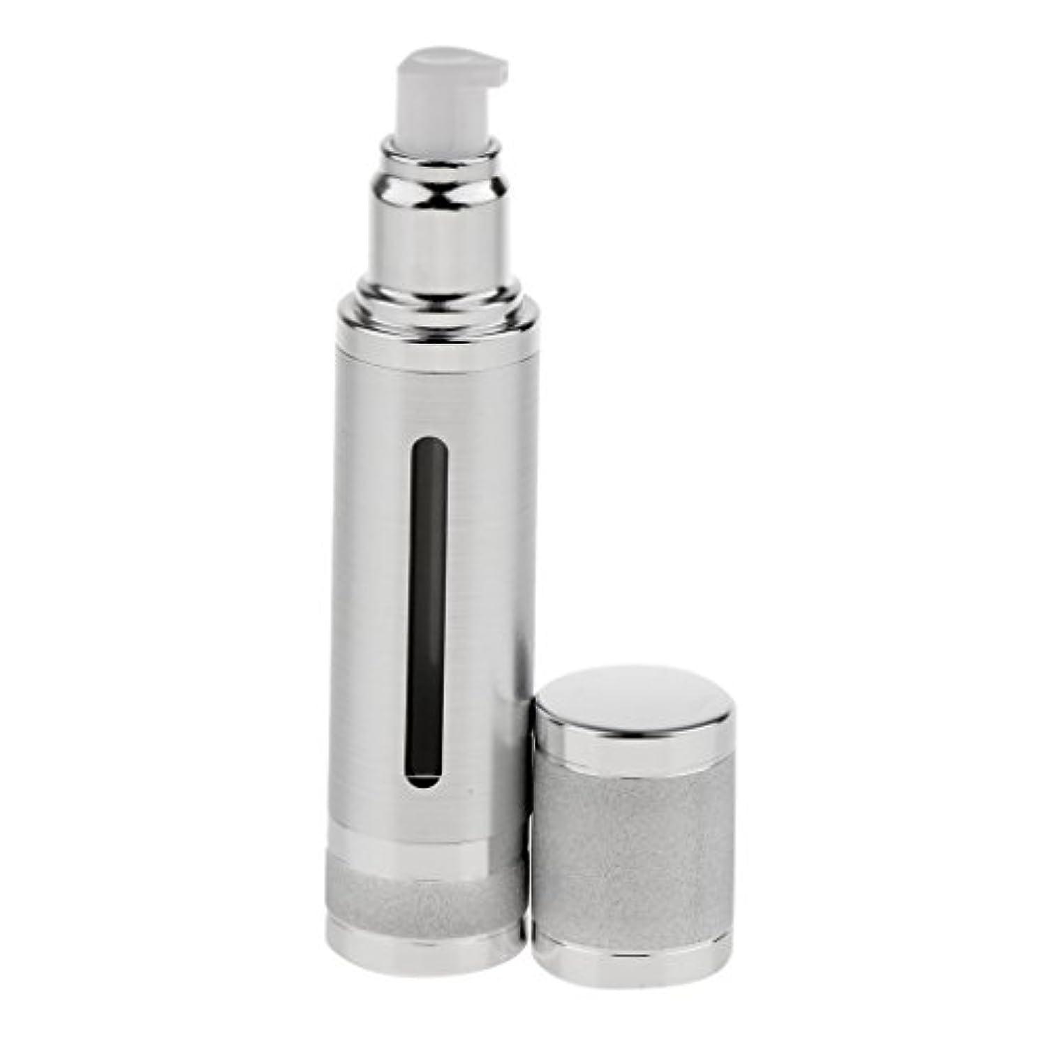 進化集中すすり泣きエアレスボトル 50ml エアレス ポンプボトル ローション クリーム 化粧品 詰め替え可 容器 2色選べる - 銀
