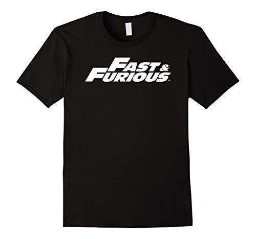 Mens Fast & Furious Classic White Logo T-Shirt Large Black [並行輸入品]