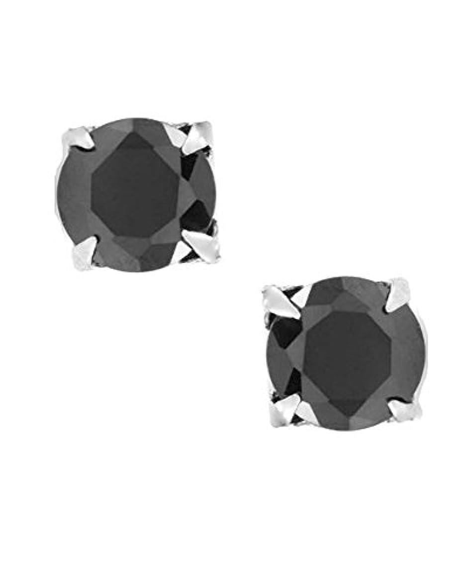 リハーサル無し顕微鏡ラウンドカット磁気ブラックキュービックジルコニアCZスターリングシルバーメンズスタッドイヤリングnoピアス3 mm