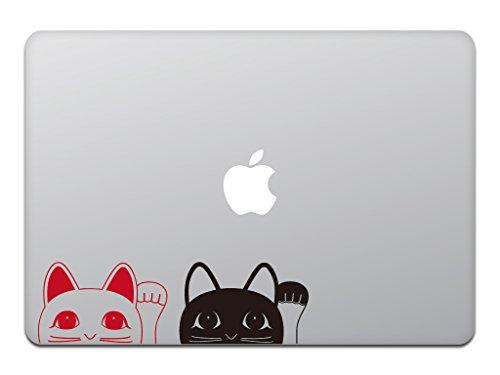 カインドストア MacBook Air/Pro 11 / 13インチ マックブック ステッカー シール 招き猫 猫 黒猫 キャット 2色セッ...