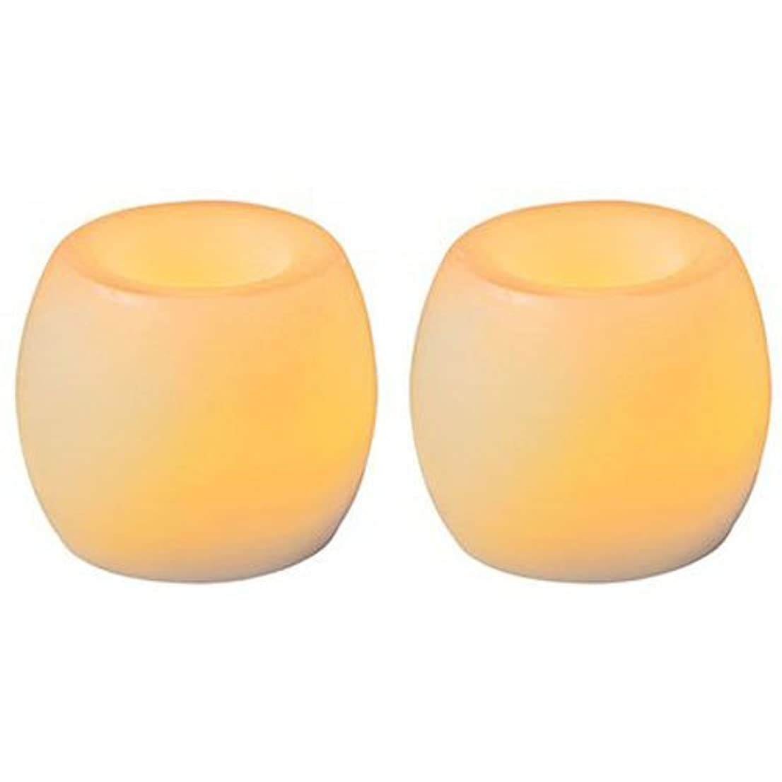 北西葉巻分類するInglow Flameless Mini Curved SquaresバニラScented Candle 2 - Pack 1 ベージュ CG24101CR201