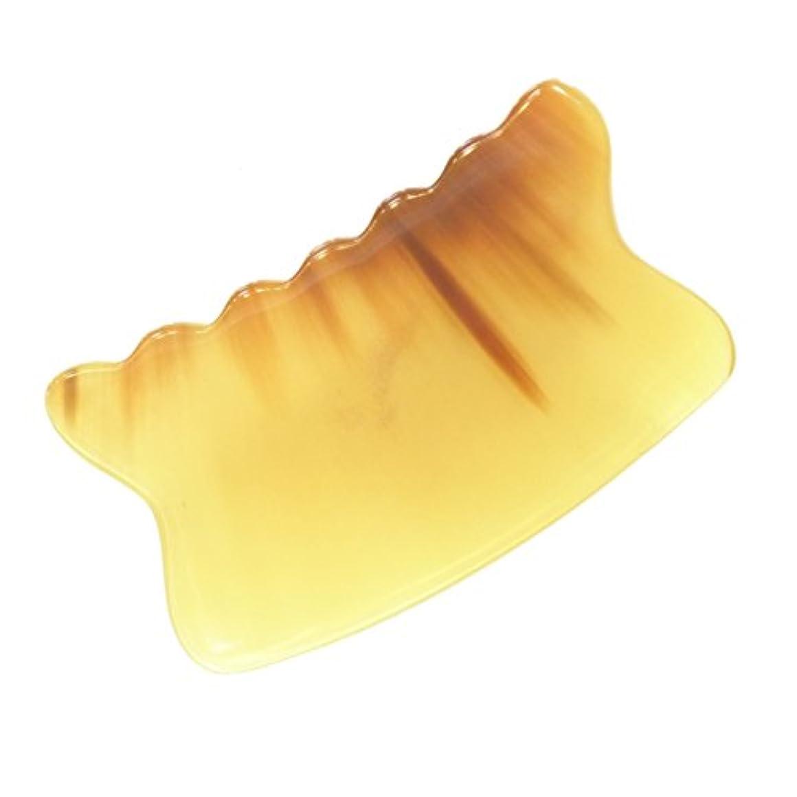 説明ゲージ明快かっさ プレート 厚さが選べる 水牛の角(黄水牛角) EHE226SP 曲波型 特級品 標準(5ミリ程度)