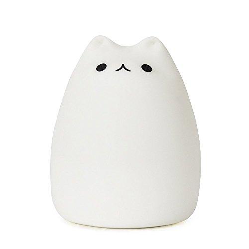 LEDライト 充電式テーブルランプ シリカゲル猫 雰囲気七色調節可能のグラデーション光 USB充電式 照明ランプ 萌えニャンコ呼吸ランプ 雰囲気作り 常夜灯 小夜灯 夜間照明