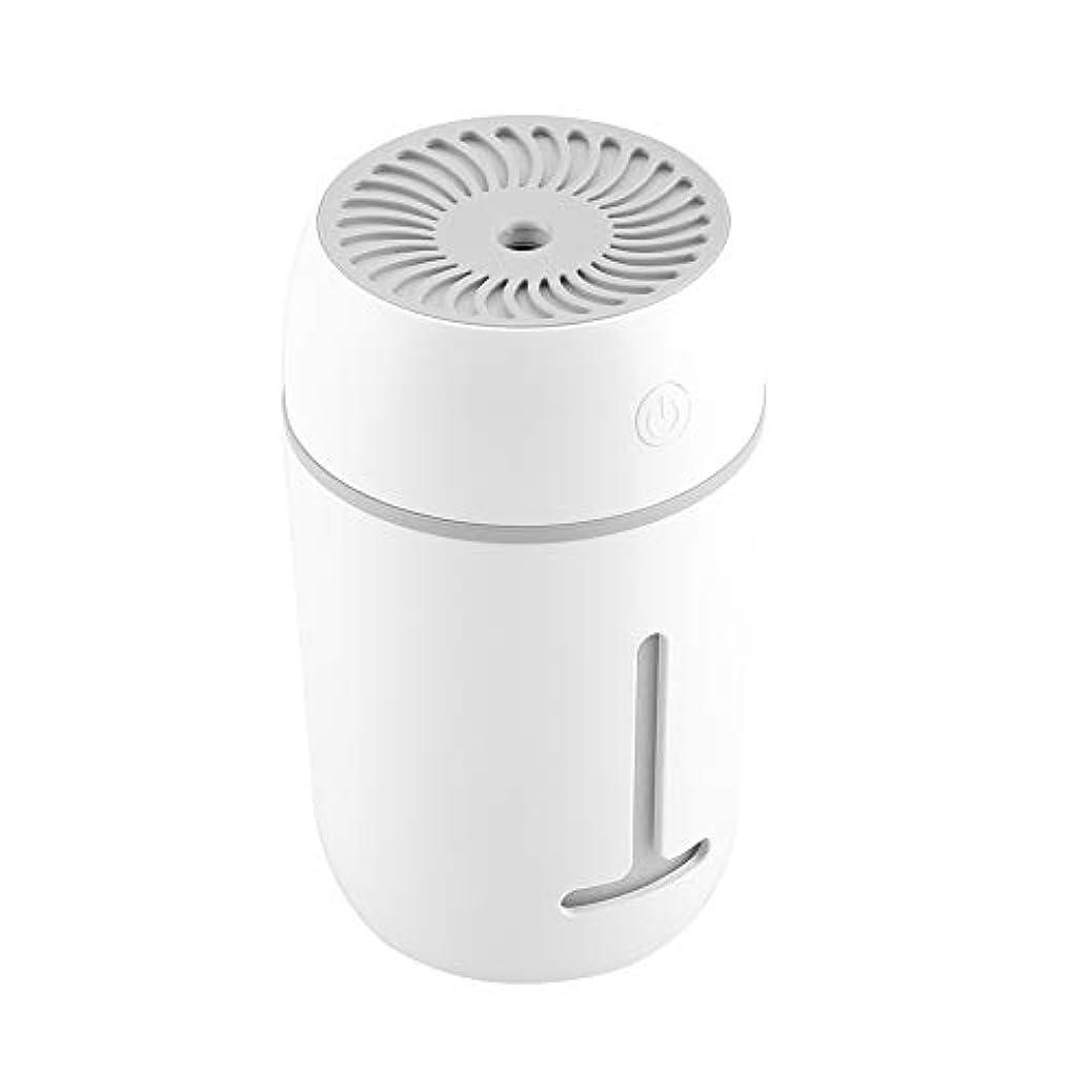 フロント殺人白い携帯用加湿器、車のオフィスのためのUSBの再充電可能な携帯用超音波加湿器の拡散器7色LEDライト