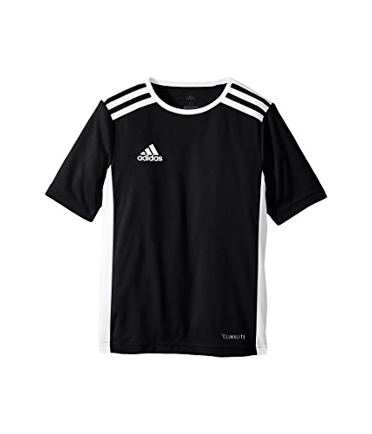 (アディダス) adidas キッズTシャツ Entrada 18 Jersey (Little Kids/Big Kids) Black/White SM (8 Big Kids) (S) One Size