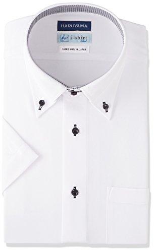 (はるやま) HARUYAMA i-shirt 完全ノーアイロン 半袖 ドゥエボットーニアイシャツ M162180017 01 ホワイト LL(首回り43cm)