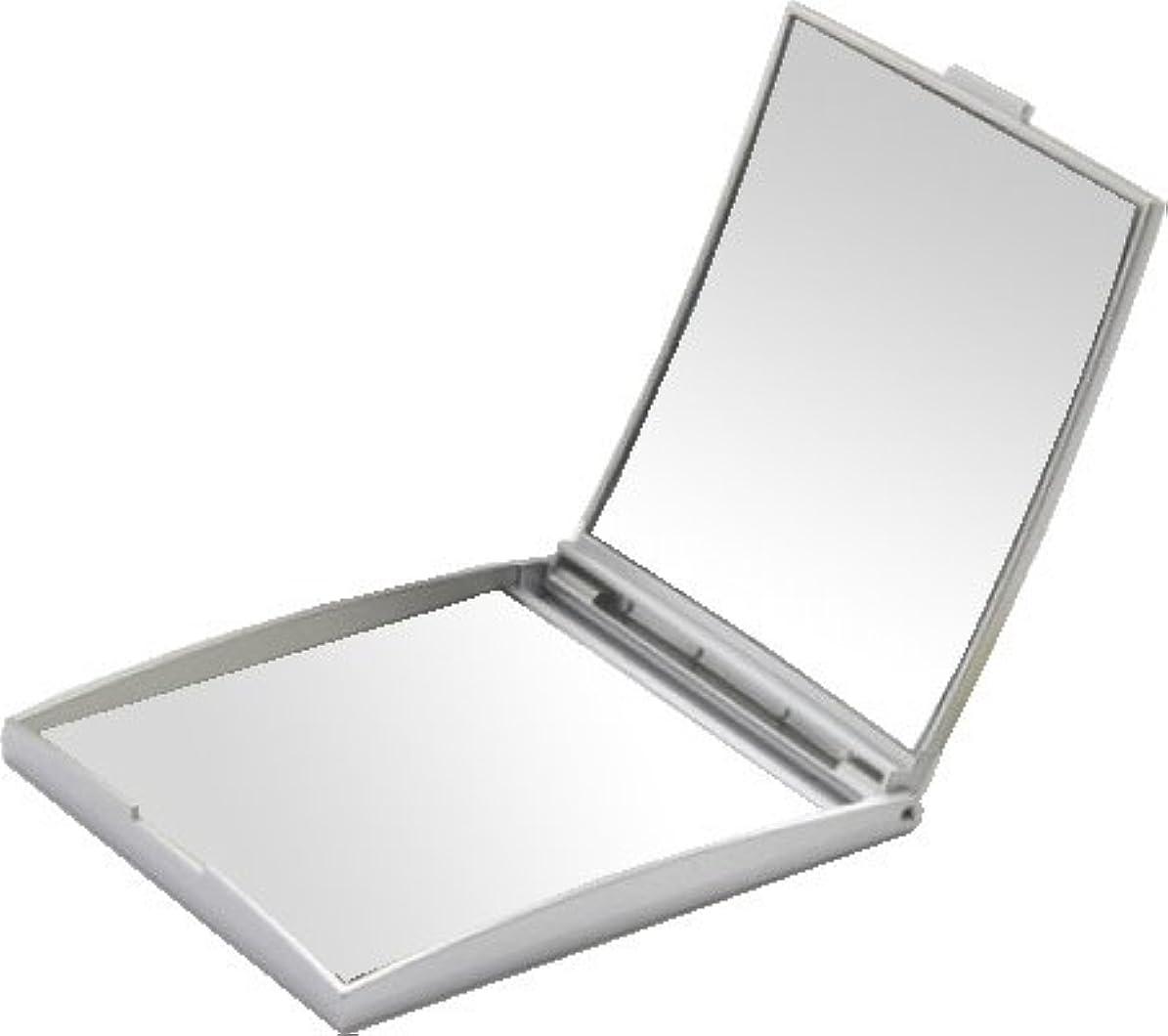 フォーク感度親メリー 片面約5倍拡大鏡付コンパクトミラー Sサイズ シルバー AD-105