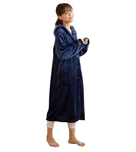mofua ( モフア ) 着る毛布 プレミアムマイクロファイバー ルームウェア フード付き 着丈110cm ネイビー 48476407