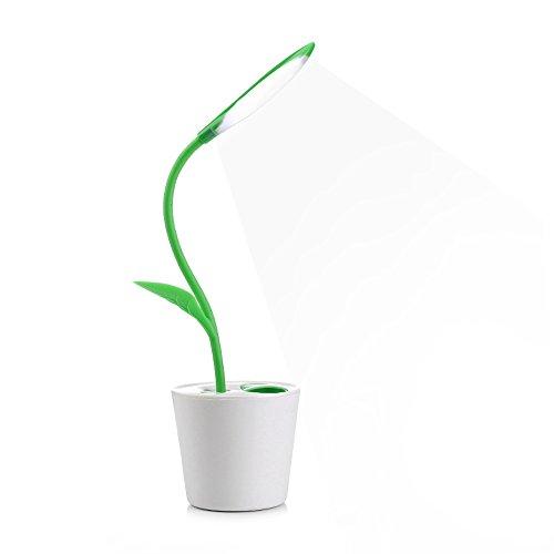 創造的なデザイン植物 デスクライト 目に優しい 電気スタンド バッテリー付き 災害時停電の緊急事態に使用もできる両用 省エネ学習机 多機能 可愛い テーブルスタンド 卓上ライト タッチセンサー調光(濃緑)