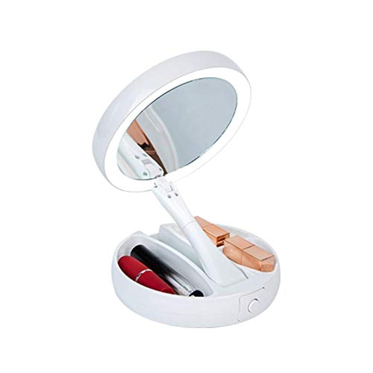 石油展示会サージ化粧鏡 等倍鏡 LED卓上化粧鏡 1X10倍拡大鏡+ メイクミラー 両面型 360度回転式 USBか電池を使って