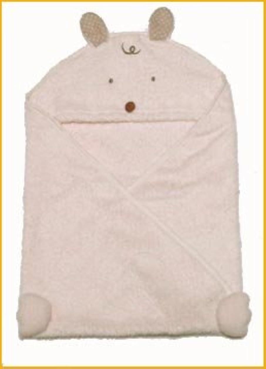 交流する生きる祭りタオル製ベビー服アフガン(おくるみ) 生成りうさぎさん 95cm×95cm