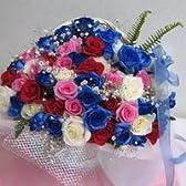 青いバラのキラキラアレンジメント★ピンクサファイア★ダイヤモンド 【生花】【お祝い】【記念日】【誕生日】【フラワーギフト】【バラ】