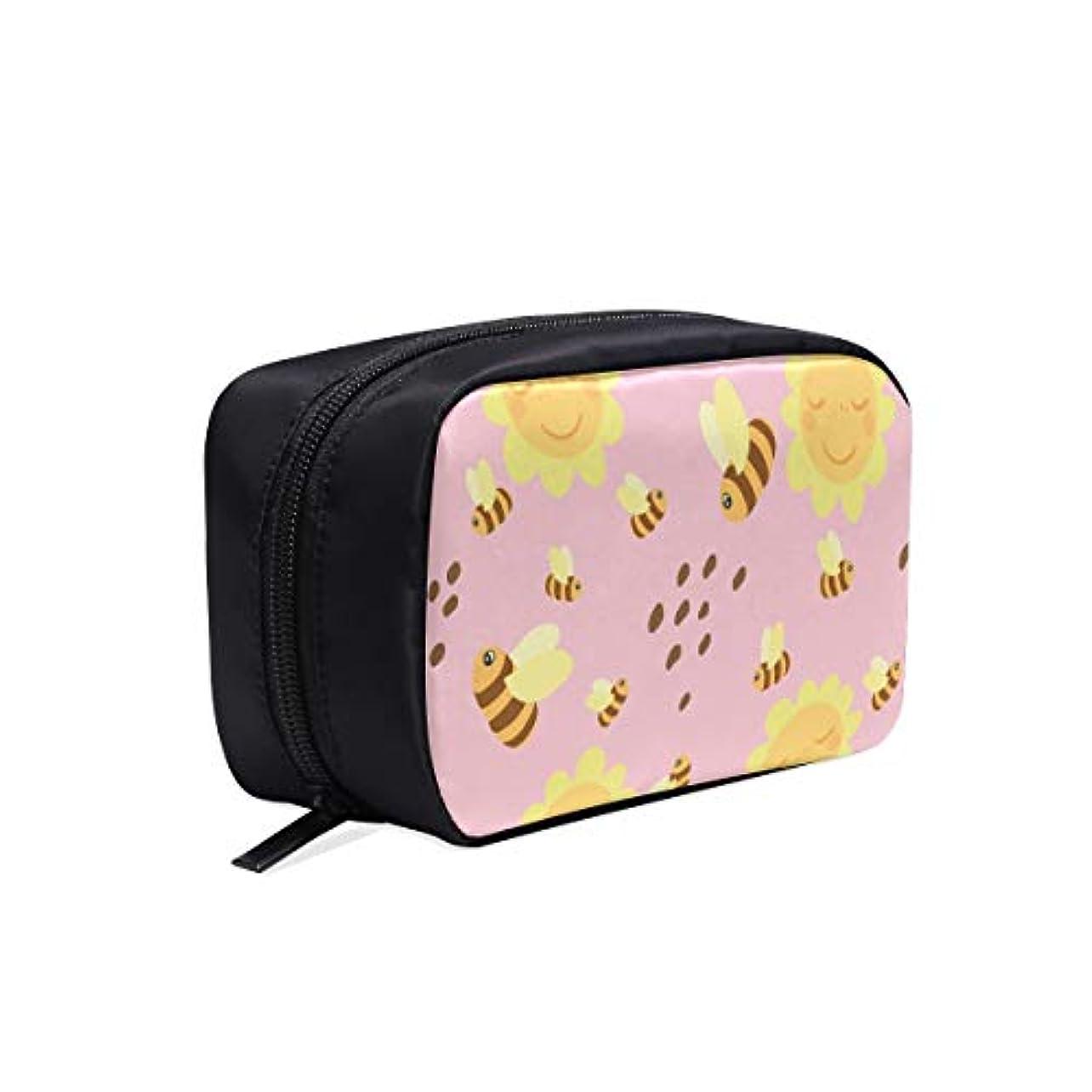 隙間究極の棚GGSXD メイクポーチ かわいいミツバチやひまわり ボックス コスメ収納 化粧品収納ケース 大容量 収納 化粧品入れ 化粧バッグ 旅行用 メイクブラシバッグ 化粧箱 持ち運び便利 プロ用