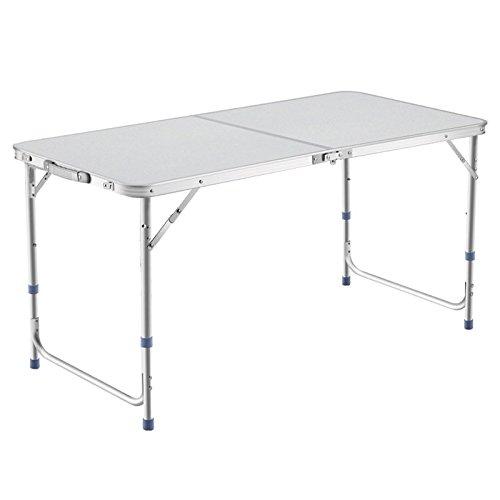 DesertFox アウトドア 折りたたみ テーブル 120×60×(55-62-70)cm 3WAY 自由に高さ調整可能 ピクニック レジャー キャンプ 用 (銀 F)
