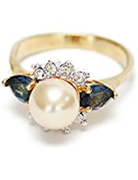Providence Vintage Jewelry Faux Pearl & Sapphire Swarovski Crystals 18kt Yellow Gold Electroplated Ring