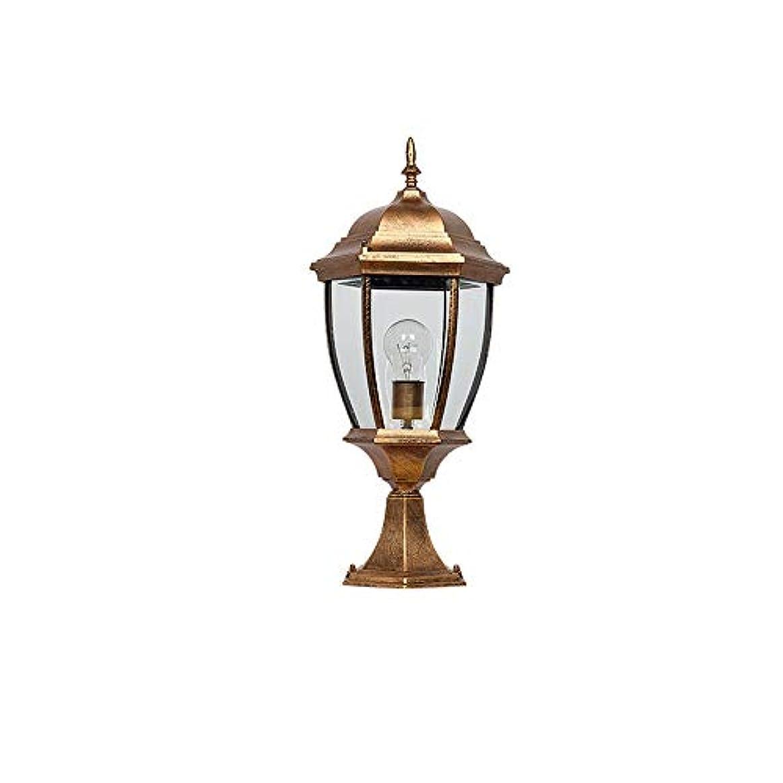 メンター早い実用的Pinjeer E27 ip54防水屋外ヴィンテージガラスポストライトアメリカアンティークシンプル防錆アルミコラムランプガーデンストリートドアコミュニティ風景装飾ピラーライト (Color : Brass, サイズ : Height 41cm)