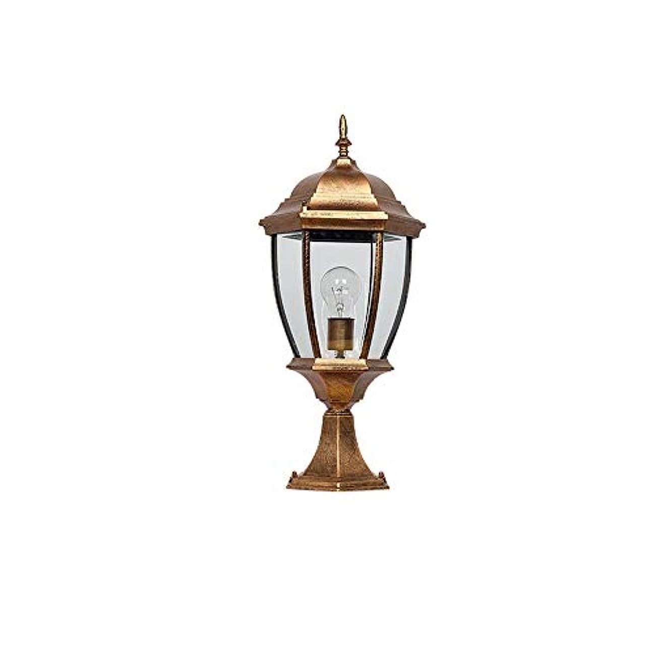 終わり気候の山ボトルPinjeer E27 ip54防水屋外ヴィンテージガラスポストライトアメリカアンティークシンプル防錆アルミコラムランプガーデンストリートドアコミュニティ風景装飾ピラーライト (Color : Brass, サイズ : Height 41cm)