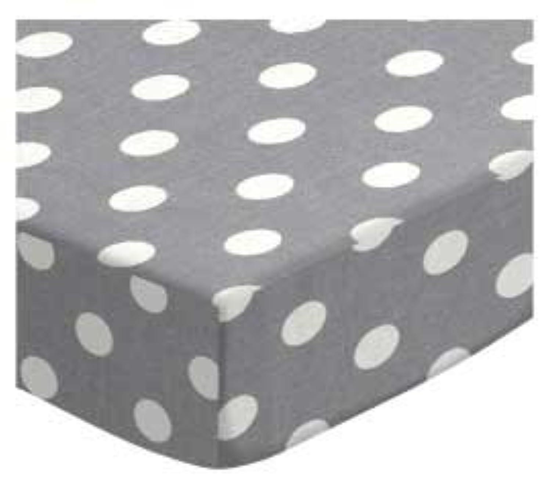 SheetWorld Fitted Bassinet Sheet - Polka Dots Grey - Made In USA by sheetworld