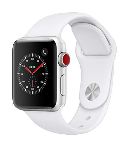 Apple Watch Series 3(GPS + Cellularモデル)- 38mmシルバーアルミニウムケースとホワイトスポーツバンド