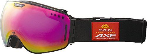 AXE(アックス) メンズ スキー・スノーボードゴーグル ワイドビューモデル AX960-ECM シャイニーブラック(BK)