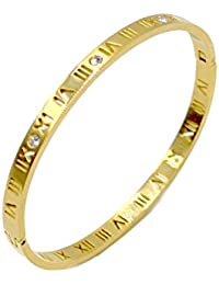 Luxury Gold-Plated Stainless Steel With CZ Stone Narrow Pierced Hinged Bangle Bracelet