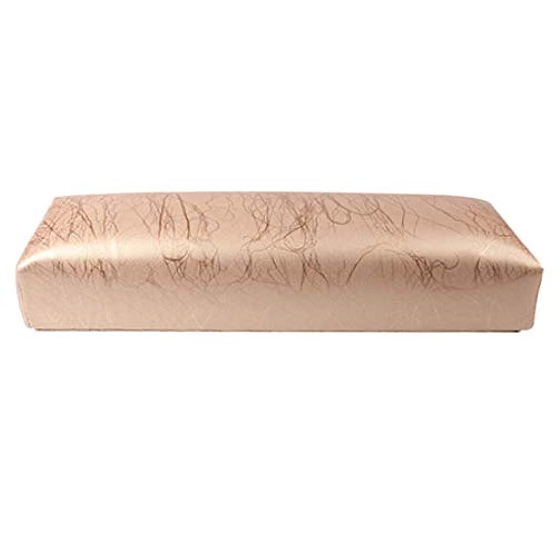外部真剣に父方のGaoominy ネイル用マニキュアハンド枕長方形PUレザーハンドレストクッションネイルピローサロンハンドホルダーアームレストレストマニキュアネイルアートアクセサリーツールゴールド