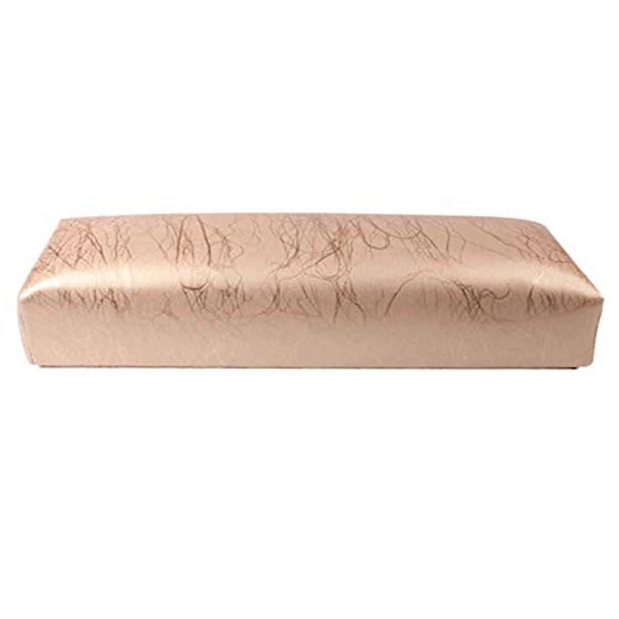 CUHAWUDBA ネイル用マニキュアハンド枕長方形PUレザーハンドレストクッションネイルピローサロンハンドホルダーアームレストレストマニキュアネイルアートアクセサリーツールゴールド