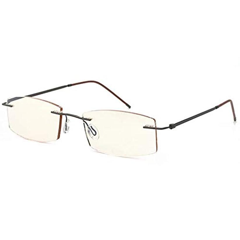 男性と女性用の老眼鏡クリアビジョンアンチブラウンブラウンレンズ視力を保護メタルハーフフレーム軽量設計快適な着用感