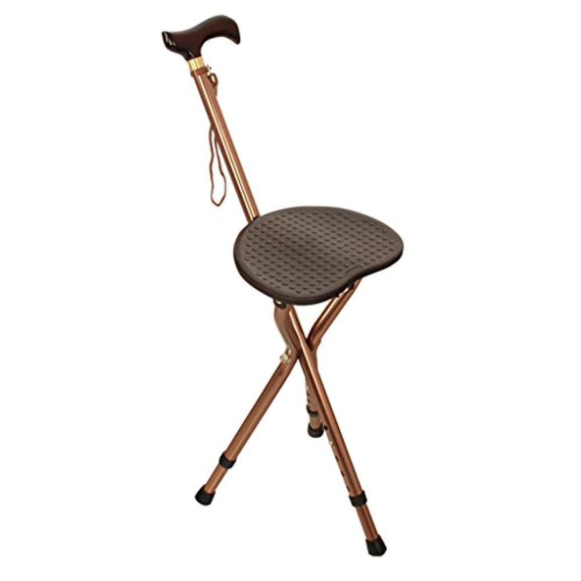お気に入りフロント芽厚いアルミニウム合金の杖スツール収納式老人杖木製ハンドルスティック