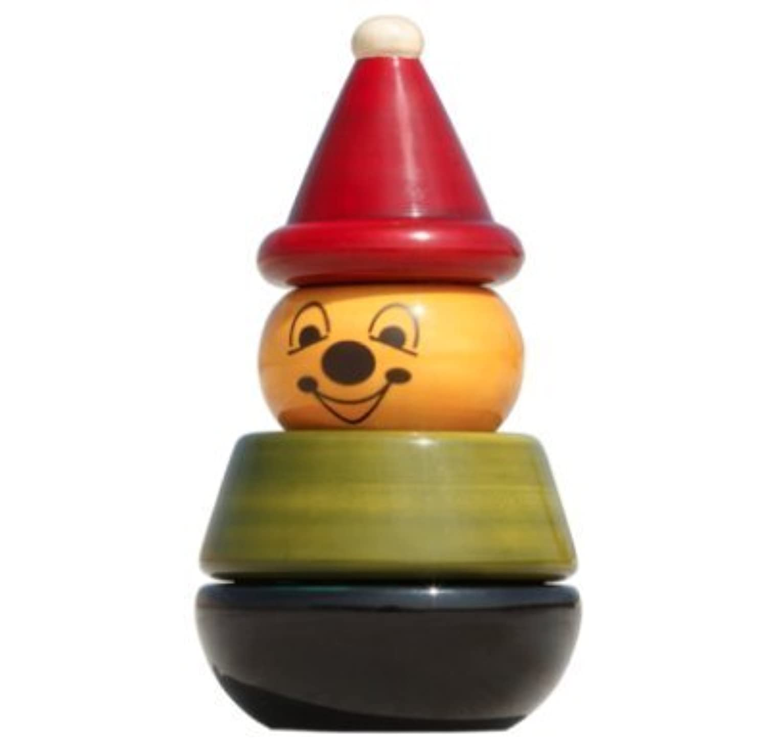 Handmade Wooden Stacking Toy Clownカラーを使用自然Made for Toddlers 12か月Old and up , Helpsで早期教育と開発| Aaba by Maya Organic
