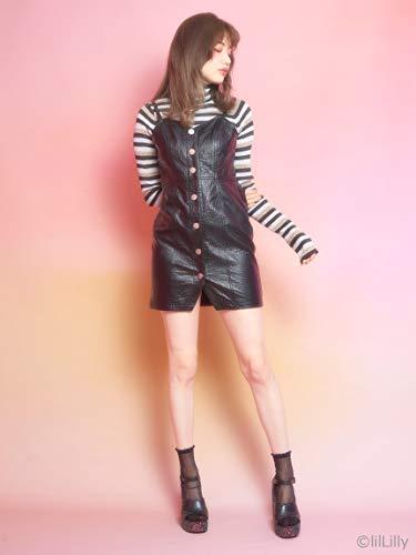 lilLilly (リルリリー) フリントボタンレザーライクドレス
