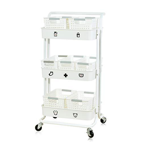 キッチンワゴン キャスター付き ベビーワゴン ベビー用品収納 キッチンラック 3段 耐荷重30kg 折りたたみ式 大容量 スリム おしゃれ ホワイト