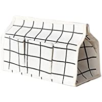 コットンリネン 小型 オブジェクト 収納袋 ポータブルカントリースタイル 多機能 ティッシュボックスデスクトップオフィス 収納袋 (白)