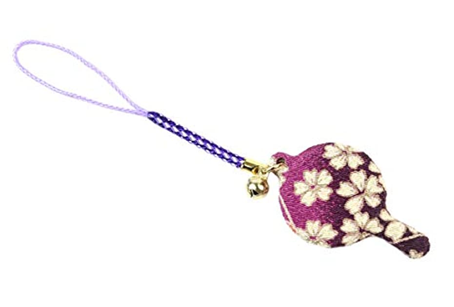 暴徒王朝飾るZOON(ズーン) 花ちりめん ミニハンドミラー 紫 和柄 着物 ちりめん 生地 布製 根付け ミニ鏡 日本製 お土産 紫