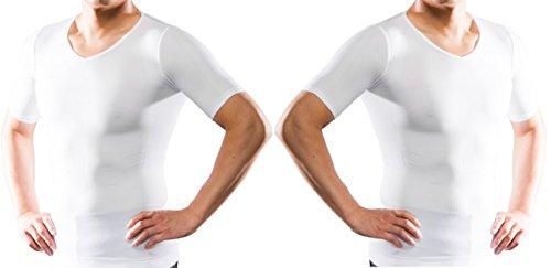 加圧シャツ スパルタックス 補正下着 スポーツ 加圧インナー 加圧式 Tシャツ 筋トレ tシャツ 加圧下着 加圧 メンズ (L, 白2枚セット)