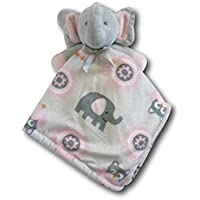 Blankets and Beyond Pink & Grey Elephant Baby Security Blanket Plush by Blankets and Beyond