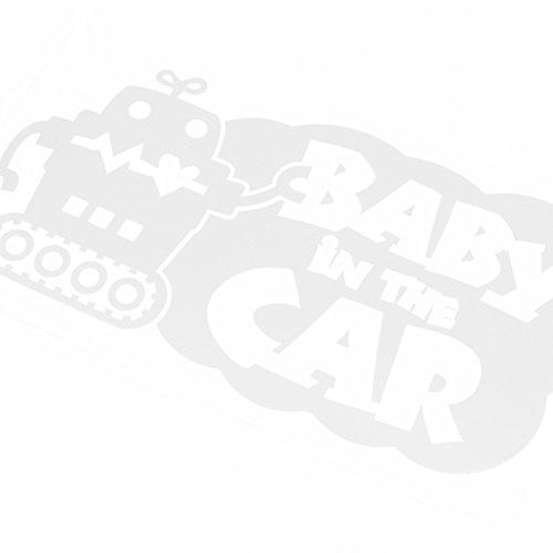ホワイト(白) Baby in the car ロボットキャラクター窓ガラス用シールタイプ 子供 車 妊婦 安全 ※吸盤・マグネットタイプではありません ...
