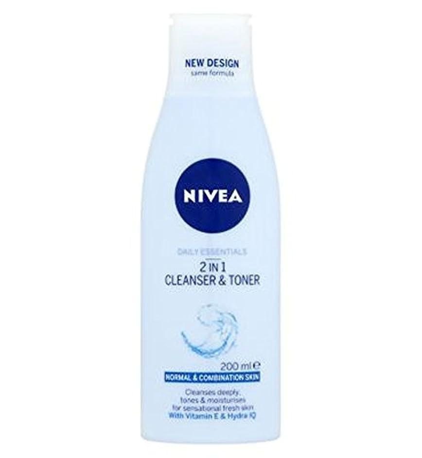 軽食父方のレギュラーニベア生活必需品2 1クレンザーとトナー200ミリリットルで (Nivea) (x2) - Nivea Daily Essentials 2 in 1 Cleanser and Toner 200ml (Pack of...