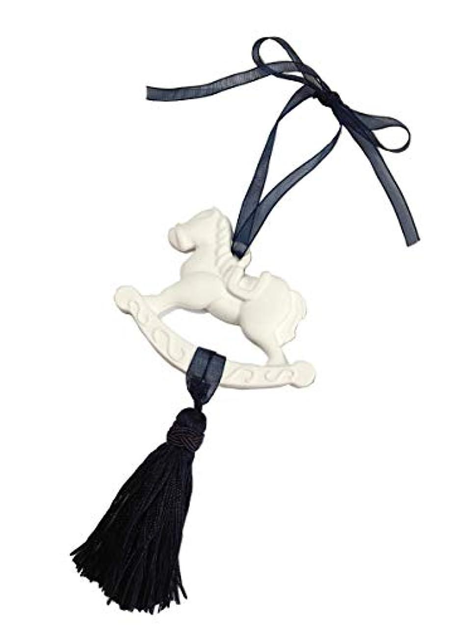 銅パキスタン人洗うアロマストーン(ハンドメイド)?木馬のオーナメント(タッセル&リボン?紺色)