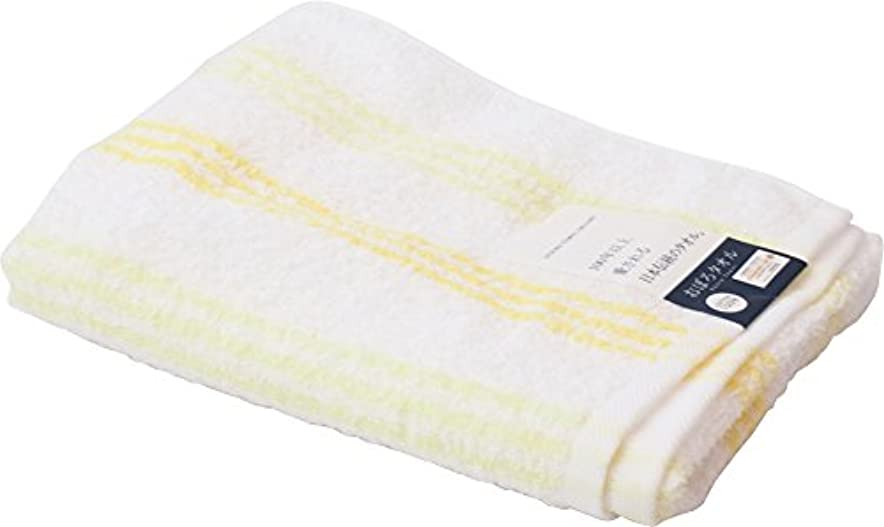 ポップ騒乱二週間UCHINO 浴用タオル おぼろストライプC 薄く軽く乾きやすい34×90cm イエロー 8807Y619 Y