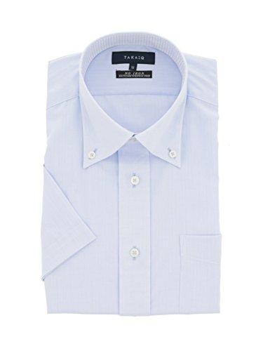 (タカキュー)TAKA-Q:Men形態安定レギュラーフィットボタンダウン半袖シャツMサックス